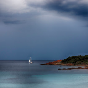 Douceur bleue by Sylvie Pierrat - Landscapes Waterscapes ( ciel, mer, bateau, nleu, corse )