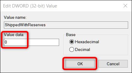 Windows 10 ShippedWithReserves registry key value data