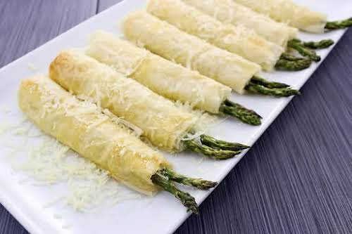 "Crispy Garlic Parmesan Asparagus Pillows ""Made these yesterday for a get together..."