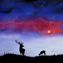 Stag in Moonlight by Linda Woodward - Painting All Painting ( stag, landscape, atmospheric, moonlight, deer, animal )