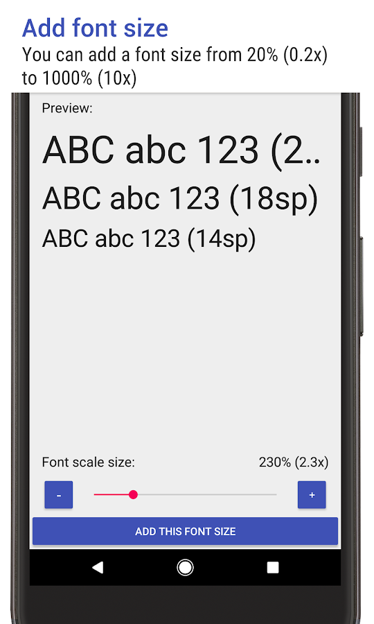 Big Font (change font size & display size) - Android Apps on ...
