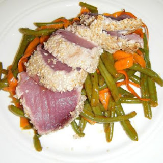 Seared Ahi Over Asian Green Beans and Carrots
