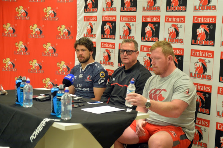 Emirates Lions captain Warren Whiteley (L), head coach Swys de Bruin (C) and Jacques van Rooyen during a press conference at Emirates Airline Park on February 15, 2018 in Johannesburg, South Africa.