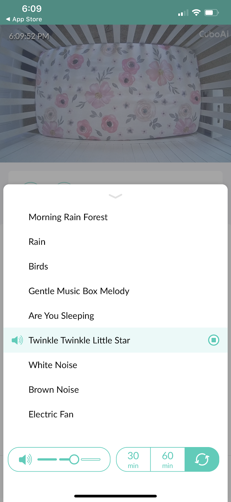 Screenshot of Lullaby feature in Cubo Ai Plus mobile app