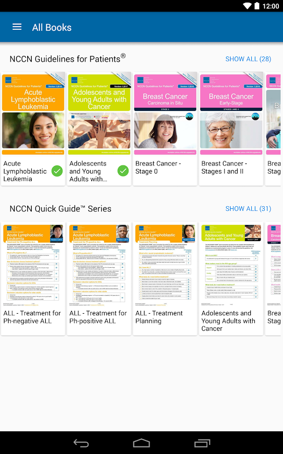 NCCN Patient Guides for Cancer- screenshot