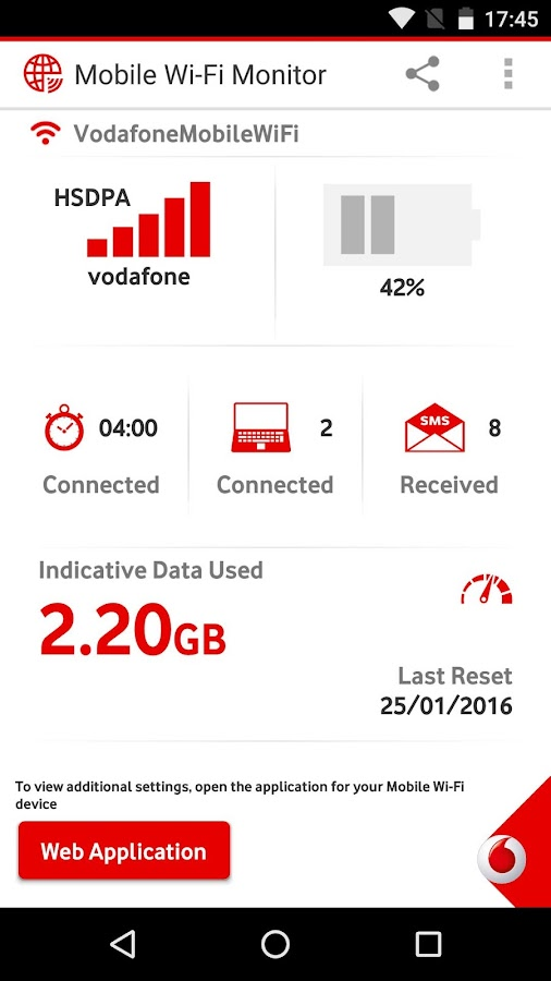 Vodafone Mobile Wi-Fi Monitor- screenshot
