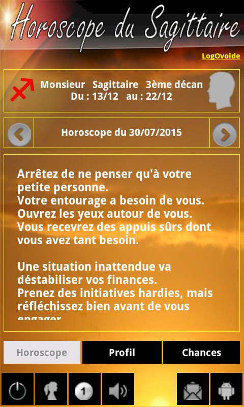Horoscope Sagittaire – Capture d'écran