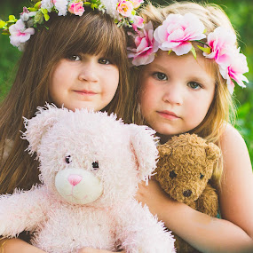 Teddy Bear Love!  by Jennifer Mize - Babies & Children Child Portraits ( love, sisters, teddy bear, children, flower )