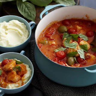 Fish, Tomato and Olive Stew with Mashed Potatoes.