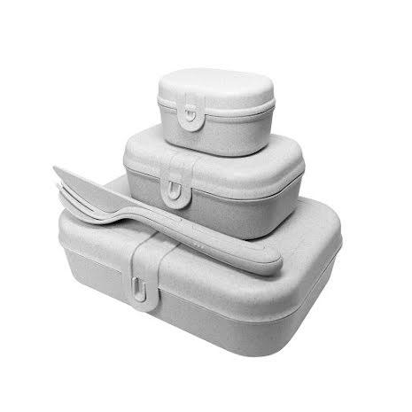 PASCAL READY Set med 3x lunchbox och bestick Organic Grey