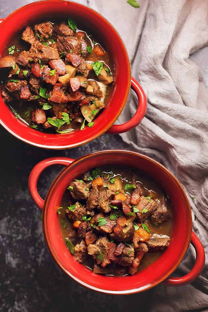 Instant Pot Beef Stew with Bacon and Mushrooms Recipe