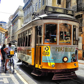 The Portuguese by Ana Paula Filipe - City,  Street & Park  Street Scenes ( lisbonne, city, street, yellow, train )