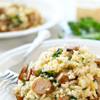 One-Pot Parmesan Risotto with Sausage + Kale
