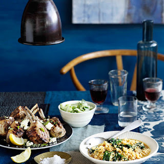 Lamb Cutlets with Lemon, Feta, and Brown Rice and Spinach Pilaf Recipe