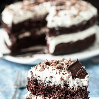 Baileys Irish Cream Chocolate Cake with Whipped Frosting.