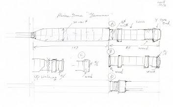 Photo: 1)デザインのラフスケッチです。グリップのラッピングは巻き上げでリールシートはA案が候補です。各部の寸法も含めて製作過程で違ったものになるかもしれません。