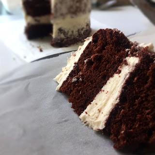 Chocolate Chiffon Cake with Coconut Swiss Meringue Buttercream