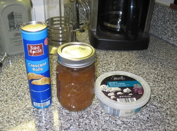Unroll the crescent rolls, add a spoonful of fig jam http://www.justapinch.com/recipes/appetizer/appetizer-fruit-appetizer/fig-jam.html blue cheese and bacon.