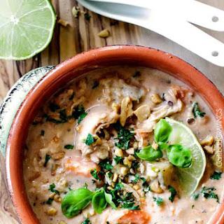 Slow Cooker Thai Coconut Chicken Wild Rice Soup.