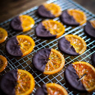 Chocolate Dipped Candied Oranges with Sea Salt.