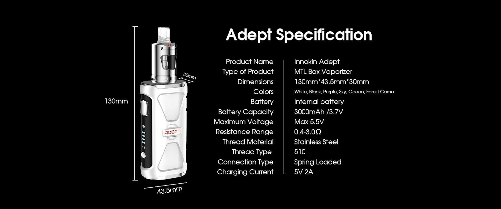 Innokin Adept Zlide Product Specifications