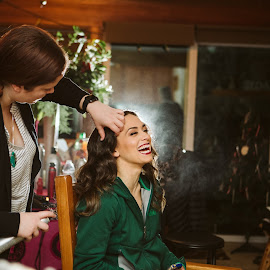 Joy of the day by Kate Gansneder - Wedding Getting Ready ( bride, makeup, wedding dress, groom, couple, hair, wedding photography, wedding, getting ready )