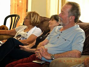 Photo: The enthralled listeners,--Roz, Felicity & Bish