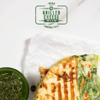 Naan Grilled Cheese with Homemade Pesto.