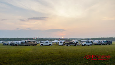 Photo: 6:15am.  Wally Byam's historic Airstream wagon wheel formation lives on in the Pocono Raceway infield!