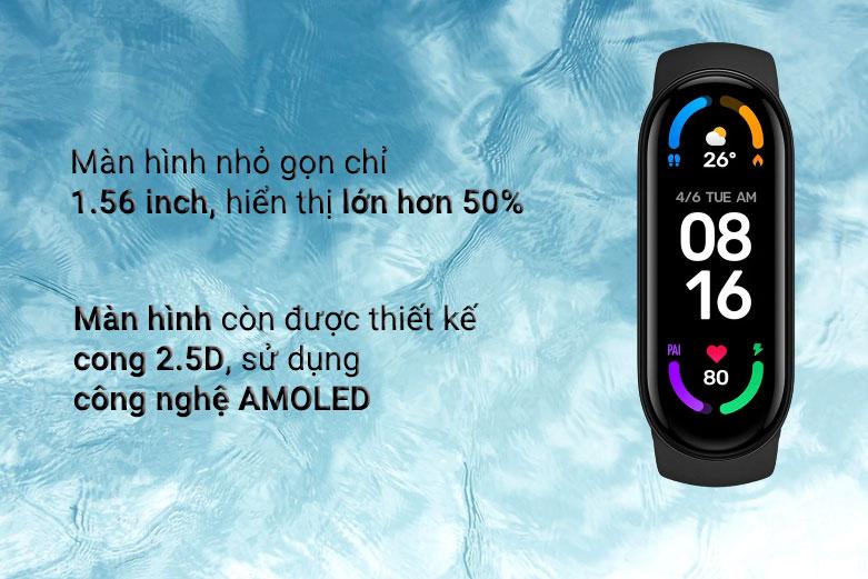 Vòng Đeo Tay Thông Minh Xiaomi Mi Smart Band 6 (Đen)   Màn hình nhỏ gọn