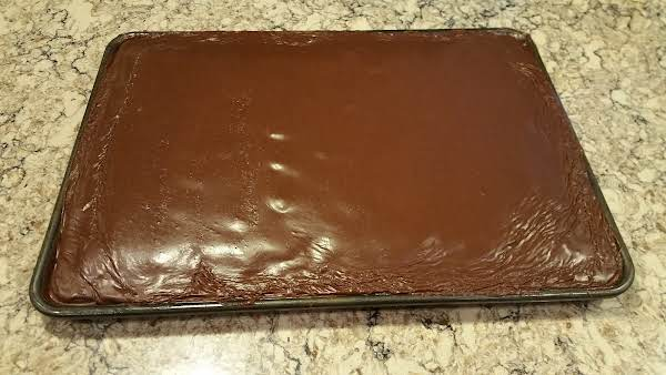Texas Sheet Cake - Cooled, Frosted, Ready To Celebrate My Son's Birthday!