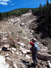 Photo: Kevin looking up the southern run atop the hill of debris in the last pic.