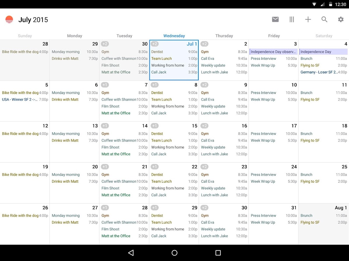 Sunrise Calendar- screenshot