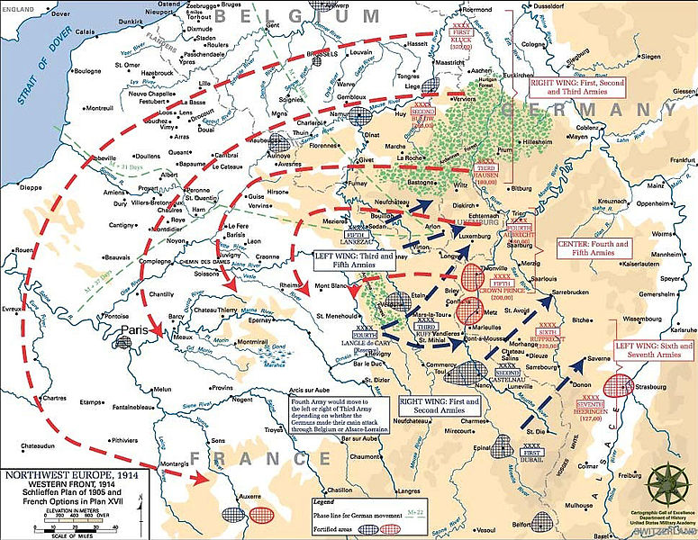 Map indicating the invasion routes of German soldiers according to the Schlieffen Plan.