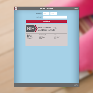 NIH BMI Calculator- screenshot thumbnail