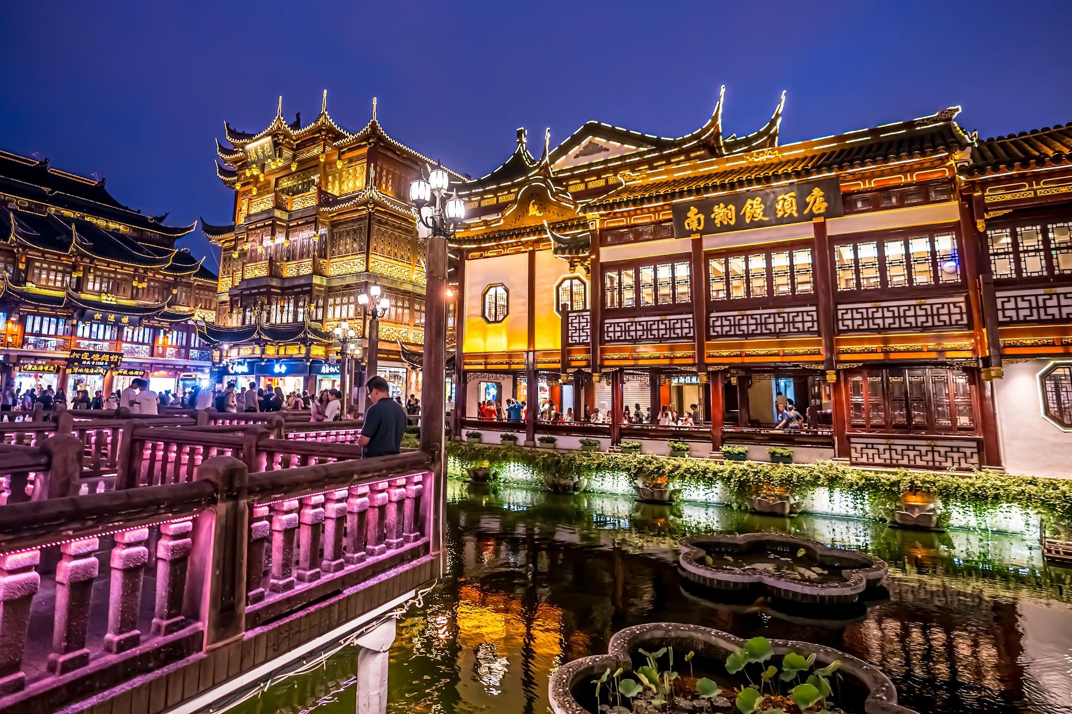 上海 豫園 南翔饅頭店 ライトアップ2