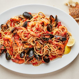 Seafood Spaghetti with Mussels and Shrimp.