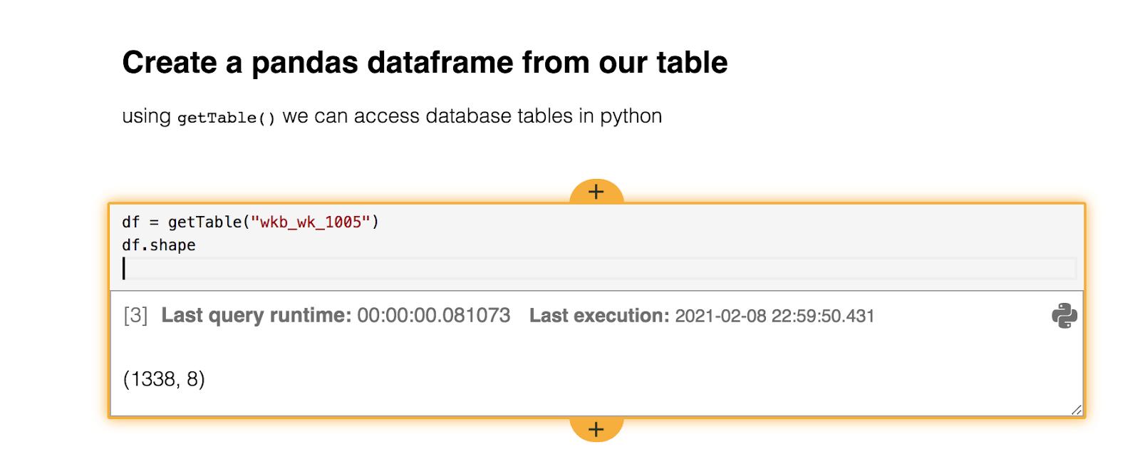 Python card in data science workbook