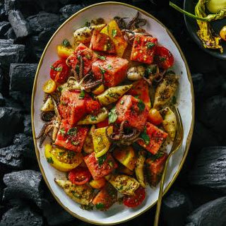 Grilled Calamari, Watermelon, and Tomato Salad