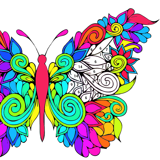 Adult Coloring by Number Book-Paint Butterfly 2018 Icon