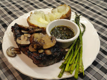 Grilled Chimichurri Steak With Pan Grilled Mushrooms And Asparagus Recipe