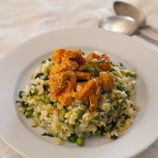 Spring Mushroom and Pea Risotto with Salmon.