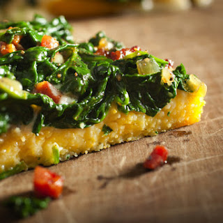 Polenta 'Pizza' With Pancetta and Spinach