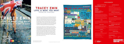 Marketing Leaflet for Tracey Emin: Love is What You Want, Hayward Gallery, 2011