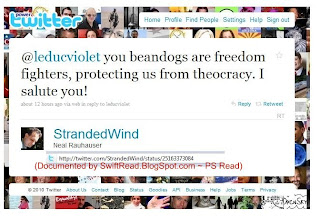 Photo: http://twitter.com/StrandedWind/status/25163373084  Neal Rauhauser motives and encourages social-activists whom he organized.