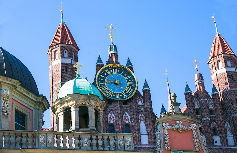 A historic clock in Old Gdansk, Poland.