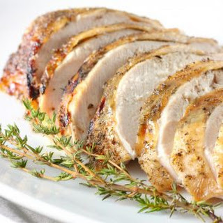 Slow Cooker Maple Herb Butter Turkey Breast with Apple Cider Glaze.