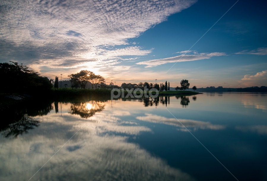 Reflections by Kevin Chua - Landscapes Sunsets & Sunrises ( clouds, water, reflections, sunrise, morning )