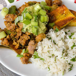 Taco Topped Fried Plantains with Cilantro Lime Rice.