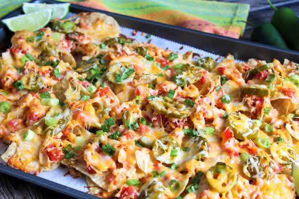 Tiffany's Chicken Nachos With Melted Cheese.